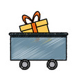 train cargo car with gift box shop delivery vector image