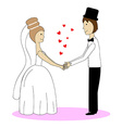 Wedding couple holding hands vector image