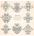 Decorative floral elements set vector image vector image