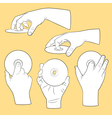Set of human hands with CDs vector image vector image