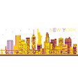 abstract new york skyline with color buildings vector image