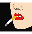Woman with cigarette in mouth black background vector image
