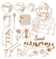 Honey monochrome icon set vector image