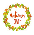 autumn sale promotional banner with wreath of vector image