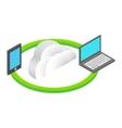 Cloud computing isometric 3d concept vector image