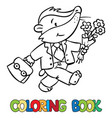 coloring book of little funny badger vector image