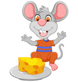 funny mouse cartoon eating cheese vector image