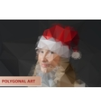 Girl in Santa hat Abstract polygonal face vector image