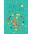 Happy birthday card with cute fox in wreath vector image