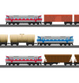 powerful modern trains with carriages for natural vector image