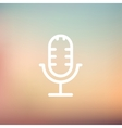 Retro microphone thin line icon vector image