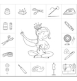 Seamstress girl and sewing tools line vector image