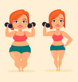 woman doing exercises with dumbbells fat and slim vector image