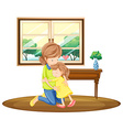 Daughter hugging mother in the room vector image vector image