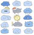 cartoon doodle comic with cute clouds vector image