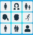 person icons set collection of user beloveds vector image