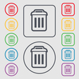 trash icon sign symbol on the Round and square vector image
