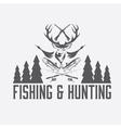 hunting and fishing vintage emblem design template vector image