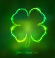 Irish shamrock for St Patricks Day on dark green vector image