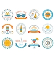Summer vacation emblems stickers set flat vector image