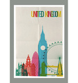 Travel United Kingdom landmarks skyline vintage vector image