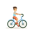 Boy Riding Bicycle Traditional Male Kid Role vector image