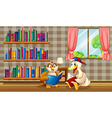 An owl and a duck reading inside the house vector image
