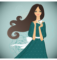 Girl with cup of tea on floral background vector image