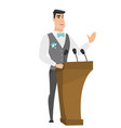 Caucasian groom giving a speech from tribune vector image