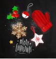 christmas elements glove chalk vector image