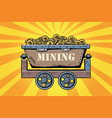 mining trolley with cryptocurrency bitcoin vector image