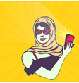 Retro lady taking selfie with smartphone camera vector image