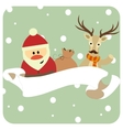 Santa and reindeer in a scarf congratulate vector image
