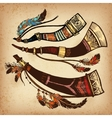 Set of 3 colored hunting horns vector image