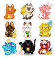 Maneki Neko Fortune Cat Collection vector image vector image