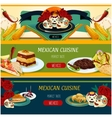 Mexican cuisine banner set with snack and dessert vector image vector image