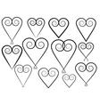 set of vintage valentines vector image vector image