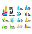 isolated colorful real estate agency logos set vector image