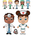 doctors and nurses set vector image vector image