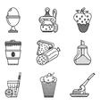 Breakfast menu black line icons vector image