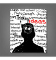 Hand drawn human head and science icons the concep vector image