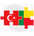 Turkey and Benin Flags vector image