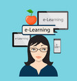 E-learning with girl and computer screen vector image