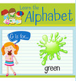 Flashcard letter G is for green vector image