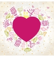 Floral heart cute retro flowers vector image