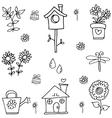 Flower set spring of doodles vector image