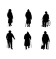 older people silhouettes vector image