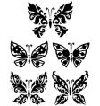 silhouette butterfly collection vector image