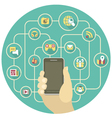Social Networking by a Smartphone vector image