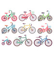 urban family bikes flat set different vector image